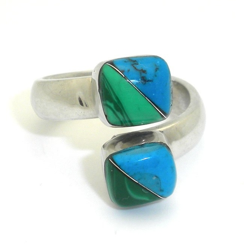 Alpaca Silver Ring with Inlaid Turquoise and Malachite