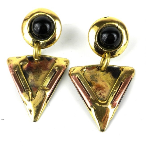 Brass and Copper Stud Earrings with Onyx - Triangle
