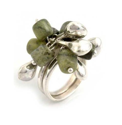 Silver and Serpentine Bead Ring - Raceme