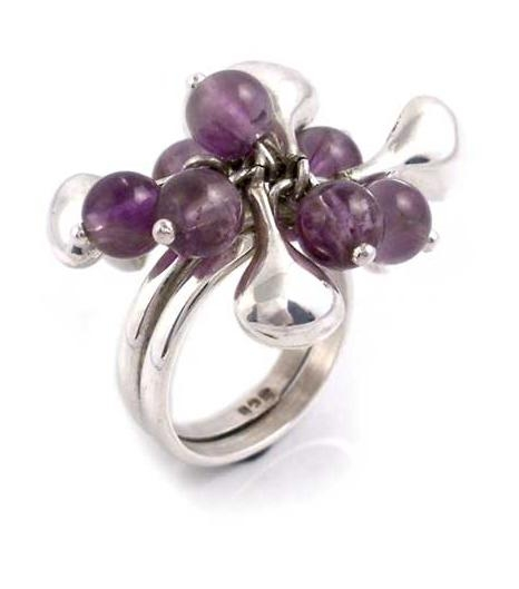 Silver and Amethyst Bead Ring - Cluster