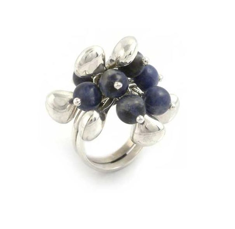 Silver and Sodalite Bead Ring - Cluster
