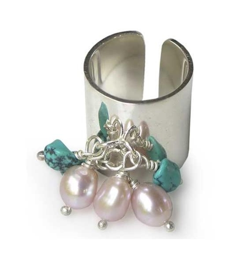Silver, Pearl and Turquoise Bead Ring - Java Celebrations