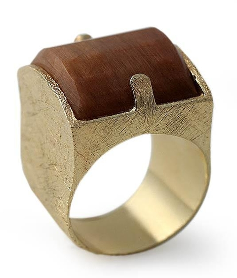 Gold Plated Silver Ring with Caramel Quartz - Memories from Jupiter