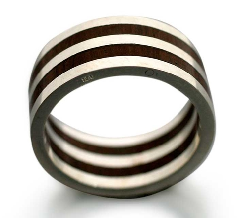 Men's Silver and Wood Ring - Triumph