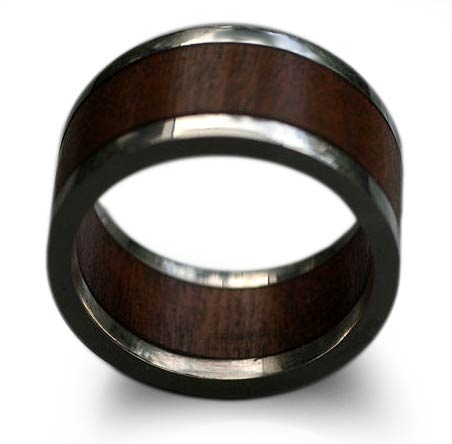 Men's Wood and Silver Ring - Forest Halo