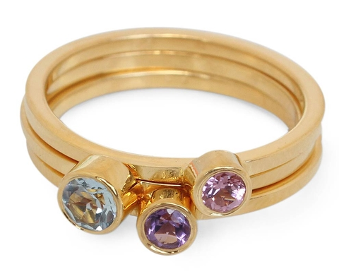 Gold Plated Silver Ring with Blue Topaz and Pink Tourmaline - Spring Glow (set of 3)