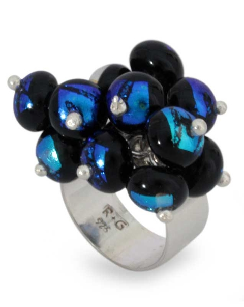 Silver and Dichroic Art Glass Bead Ring - Acapulco