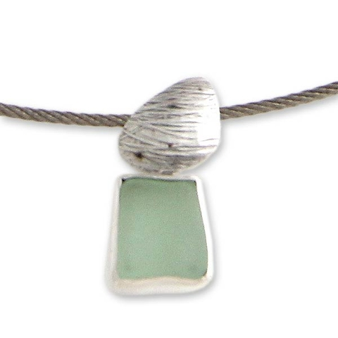 Sea Glass and Silver Choker Necklace