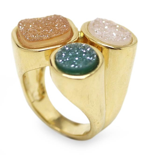 Gold Plated Ring with Drusy Agates - Color Trio