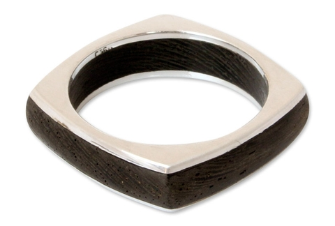 Men's Squared Silver and Wood Ring - Natural Journey