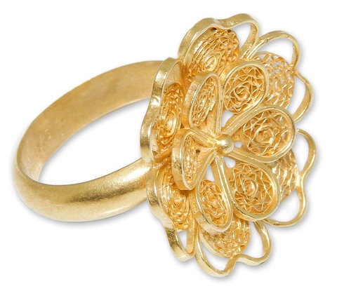 Gold Plated Silver Ring - Yellow Rose