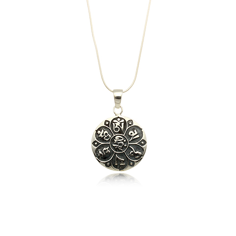 Om Mani Padme Hum Round Silver Pendant Necklace