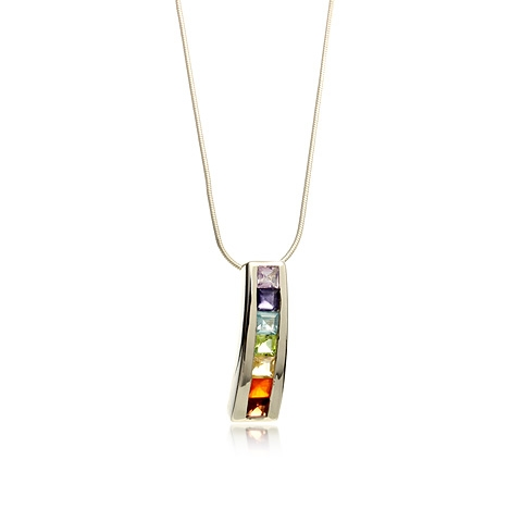 Gemstone Silver Pendant Necklace - Rainbow Purity Chakra