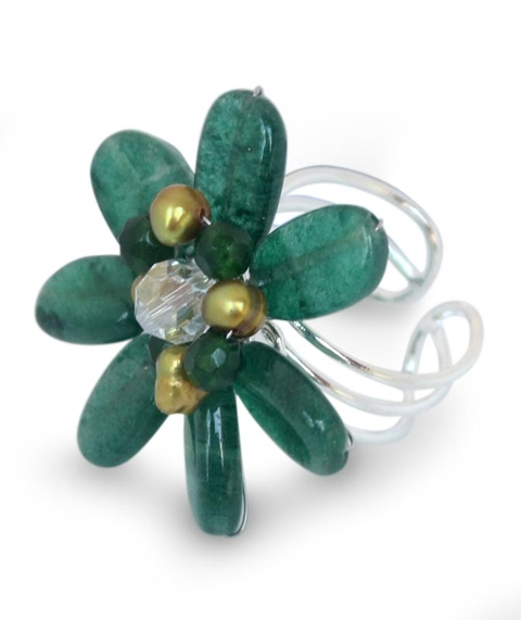 Silver, Quartz and Pearl Bead Ring - Jungle Flowers