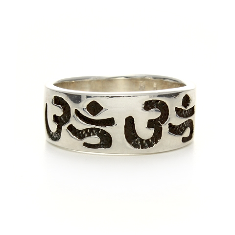 Silver Repeating Om Ring