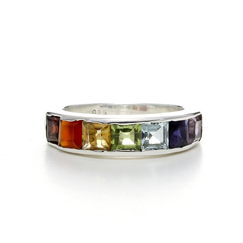 Gemstone Silver Ring - Rainbow Purity Chakra