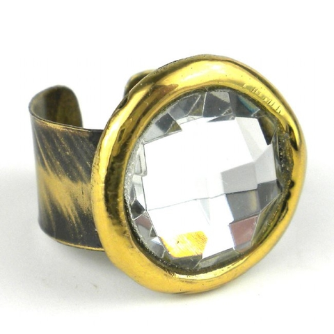 Brass Ring with Crystal