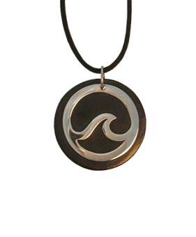 Surfaid Wave Leather and Silver Pendant Necklace