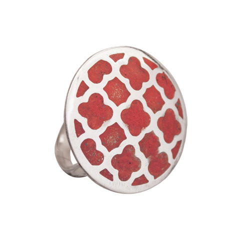 Round Coral Cocktail Ring - Lattice