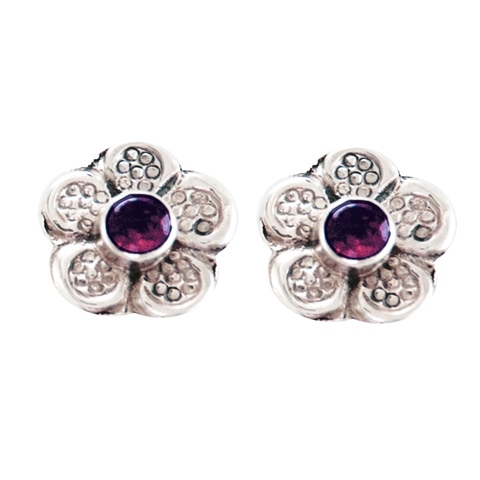 Silver Stud Earrings with Amethyst - Lilac