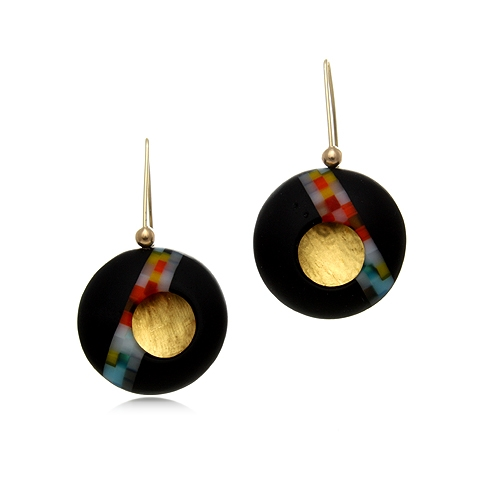 Round Glass and Gold Drop Earrings - Nebula Pixel Orb