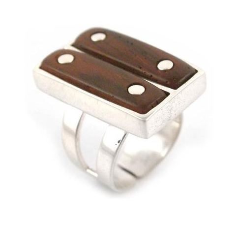 Silver and Wood Ring - Safari