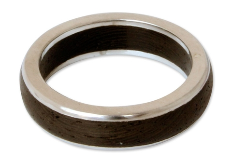 Men's Round Silver and Wood Ring - Moon Hero